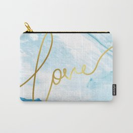 Love | Gold Frame Typography on Blue Watercolour Carry-All Pouch