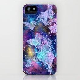 world map galaxy purple iPhone Case
