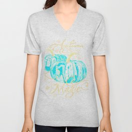"""Autumn Magic"" Turquoise Pumpkins Unisex V-Neck"
