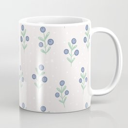 Mauve pink white blue hand painted polka dots floral Coffee Mug