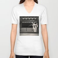 astronaut V-neck T-shirts featuring Astronaut by eARTh