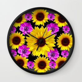 PURPLE FLOWERS & SUNFLOWERS DECO ART Wall Clock