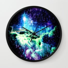 Galaxy Clouds Blue Purple Green Wall Clock