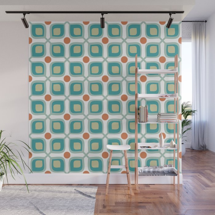 Abstract Flower Pattern Mid Century Modern Retro Turquoise Orange Wall Mural