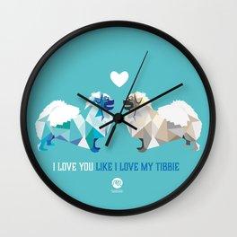 Polygon Tibetan Spaniel Love in Turquoise Wall Clock