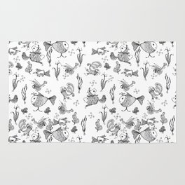 Seamless hand draw cartoon fairy fishes Rug