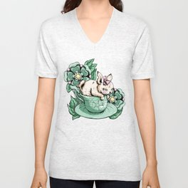 Bunny With Teacup Unisex V-Neck