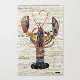 Maine Abstract Colorful Lobster by C.E. White Collage Artist Canvas Print