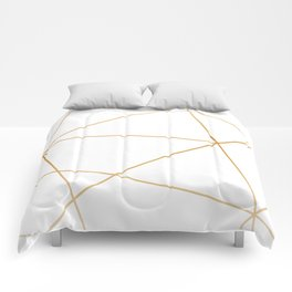 geometric gold and white Comforters