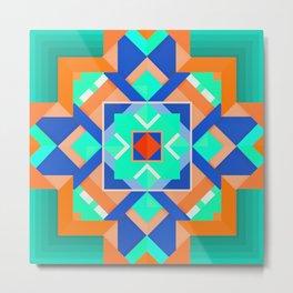Geometric Tribal Mandala Inspired Modern Trendy Vibrant (Mint Green, Cobalt Blue, Orange) Metal Print