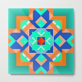 Geometric Tribal Mandala Inspired Modern Trendy Vibrant (Mint Green, Cobalt Blue, Orange) Metal Print