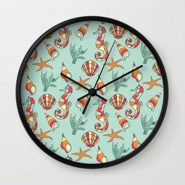 Ocean Seashell & Seahorses Seamless Pattern Bathroom \ Bedroom Decor Wall Clock