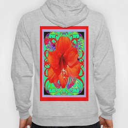 Italian  Style Design Red Amaryllis Abstract Hoody