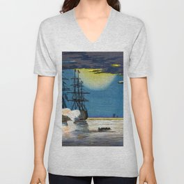 Kobayashi Kiyochika - Top Quality Art - Kawasaki Moon Ocean Unisex V-Neck