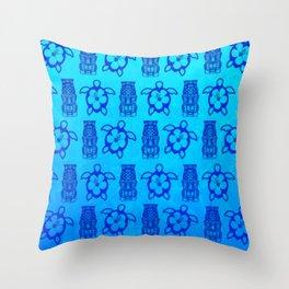 Blue Honu And Tiki Mask Throw Pillow
