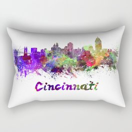 Cincinnati skyline in watercolor Rectangular Pillow
