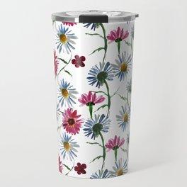 Watercolor rose and blue camomiles Travel Mug