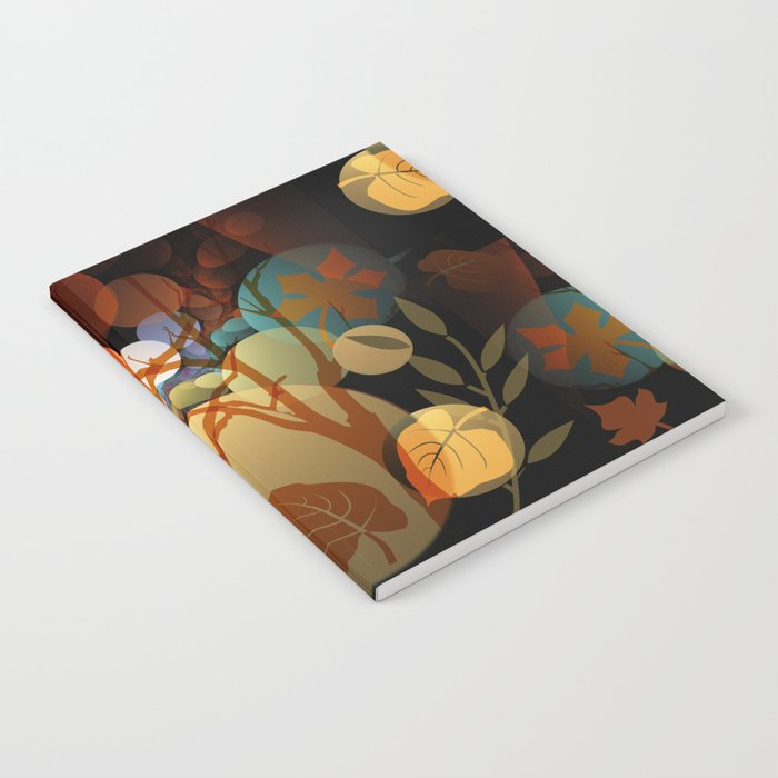 Trees and leaves in sun spots Notebook