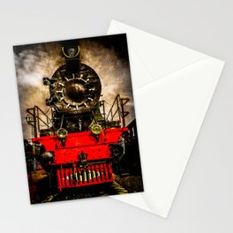 Vintage Steam Engine Locomotive - Back From The Farness Stationery Cards