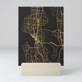 SEATTLE WASHINGTON GOLD ON BLACK CITY MAP Mini Art Print