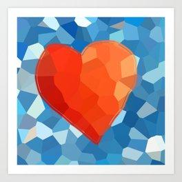 Red Heart on Aqua Art Print