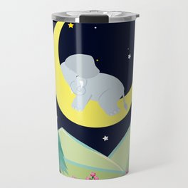 Elephant on the moon , nursery decor , Travel Mug
