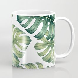 Monstera botanical leaves illustration pattern on white Coffee Mug