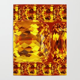 MODERN ART MADEIRA YELLOW CITRINE NOVEMBER GEMS  BIRTHSTONE Poster
