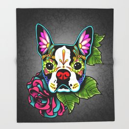 Boston Terrier in Black - Day of the Dead Sugar Skull Dog Throw Blanket