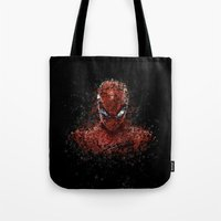 spider man Tote Bags featuring Spider Spider-Man by Diego Farias