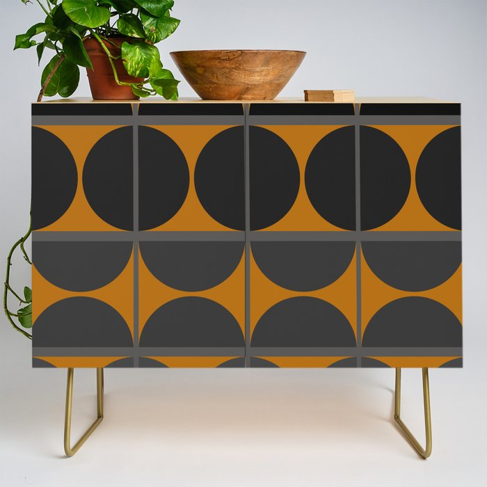 Black and Gray Gradient with Gold Squares and Half Circles Digital Illustration - Artwork Credenza