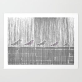 FIVE LITTLE BIRDS Art Print