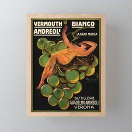 Vintage White Wine Ad Italian Vermouth Framed Mini Art Print