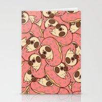 doughnut Stationery Cards featuring Puglie Doughnut by Puglie Pug