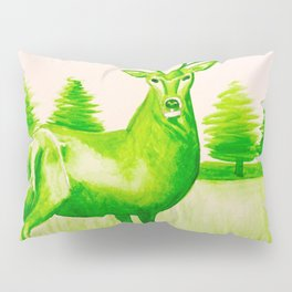Green Deer Watercolor Pillow Sham