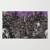 zombies Area & Throw Rugs featuring Zombies....Braaaiiinnnnsss!!! by Renee Michele Andolina