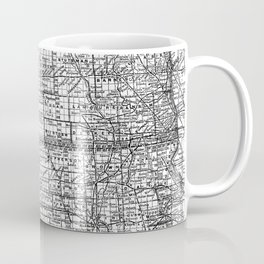 Vintage Map of North and South Dakota (1891) BW Coffee Mug