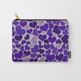 Sparkling Hearts,blue Carry-All Pouch