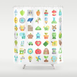 CUTE GREEN / ECO / RECYCLE PATTERN Shower Curtain