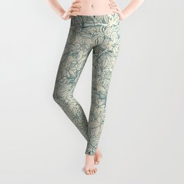 Denim flower circle Leggings