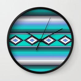 Modern Mexican Serape in Teal Wall Clock