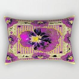 Purple & Yellow Pansy Graphic Art Design Rectangular Pillow