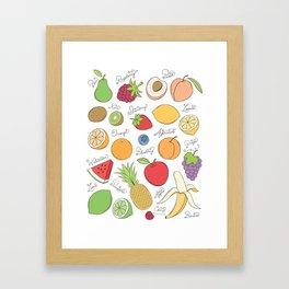 Fruit Doodles Framed Art Print