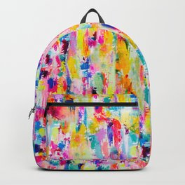 Bright Colorful Abstract Painting in Neons and Pastels Backpack