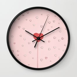 Abstract pastel Valentine's day card Wall Clock