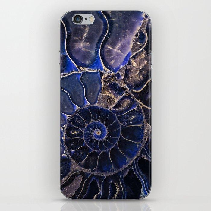 Earth Treasures - Ammonite in blue tones iPhone Skin
