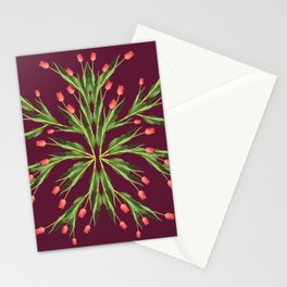 Burgundy and tulips Stationery Cards