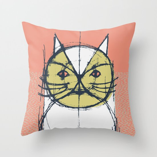Cubist Cat Study #12 by Friztin Throw Pillow