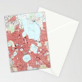 Lakeland Florida Map (1994) Stationery Cards