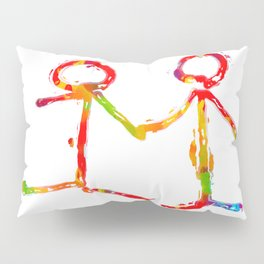 happy couple holding hands in red yellow blue green Pillow Sham
